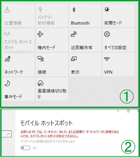 ■質問: Windows10でモバイルホットスポットを使用できません。 Windows10をブロードバンド接続でインターネットに接続しています。アクションセンターを開くとモバイルホットスポットがグレーアウト表示になっており、ONにできません。(画像①) スタート→設定→モバイルホットスポット にアクセスすると以下のメッセージが表示されていました。 「お使いのPCでは、イーサネット、Wi-Fi、または携帯データネットワークに接続できないため、モバイルホットスポットを設定できません。」(画像②) 原因として考えられるものがあれば教えてください。 また、下記の補足と前後しますが今はルーターを持っていません。ルーターを購入すれば解決するものでしょうか。 ■補足: ・以前はルーターをレンタルしており、それを経由して(電話回線-モデム-ルーター-PC)イーサネット接続をしていました。その時はモバイルホットスポットをONにできていました。ルーターを返却し、モデムとPCを繋げたところモバイルホットスポットをONにできなくなりました。 ・類似質問を参照し、デバイスマネージャーを確認しました。ネットワークアダプターに表示されたものは全て有効になっていました。(Microsoft Wi-Fi Direct Virtual Adapter含む)