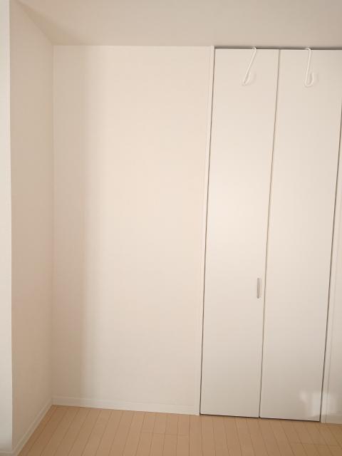 画像の向かって右側がクローゼットです。左側に小さなチェストを置きたいのですが、色は白かナチュラルどちらの方が良いでしょうか? チェストとクローゼットの間にはスリムな壁掛け鏡を設置する予定です。