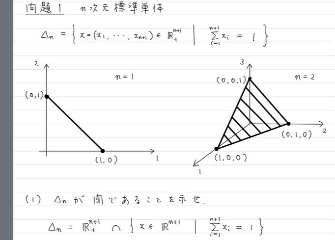 至急!画像の問題の下側にある集合{x∈Rn+1|Σxi=1}が閉集合である証明が出来ず困っております。どなたか教えていただけたら幸いです。 大学数学 集合 点列