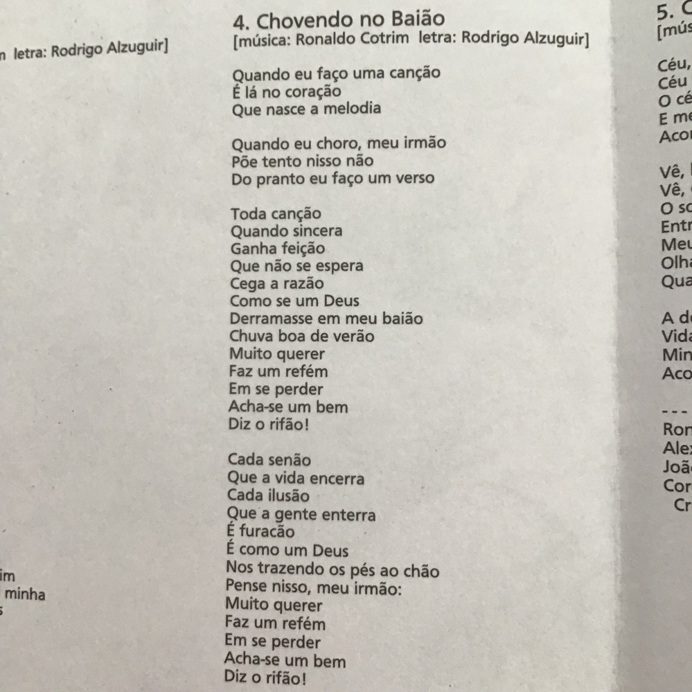 ホナウド コトリムさんという方の曲の歌詞です。 タイトルの意味も含めて、歌詞を翻訳出来る方いたら、よろしくお願いいたします。