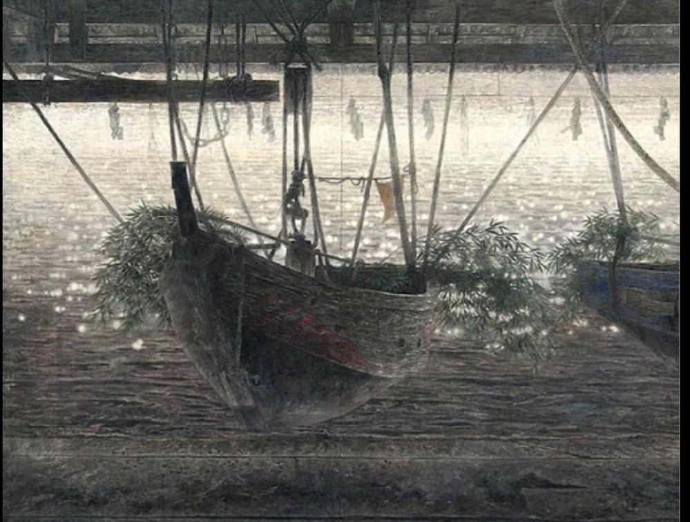 中出信昭さんの「凪」という日本画作品なのですが、このような船はなんと呼ばれますか? 漁船、小舟…みたいな。いわゆるなんと検索すれば画像と同様の形態の船が出てくるでしょうか。