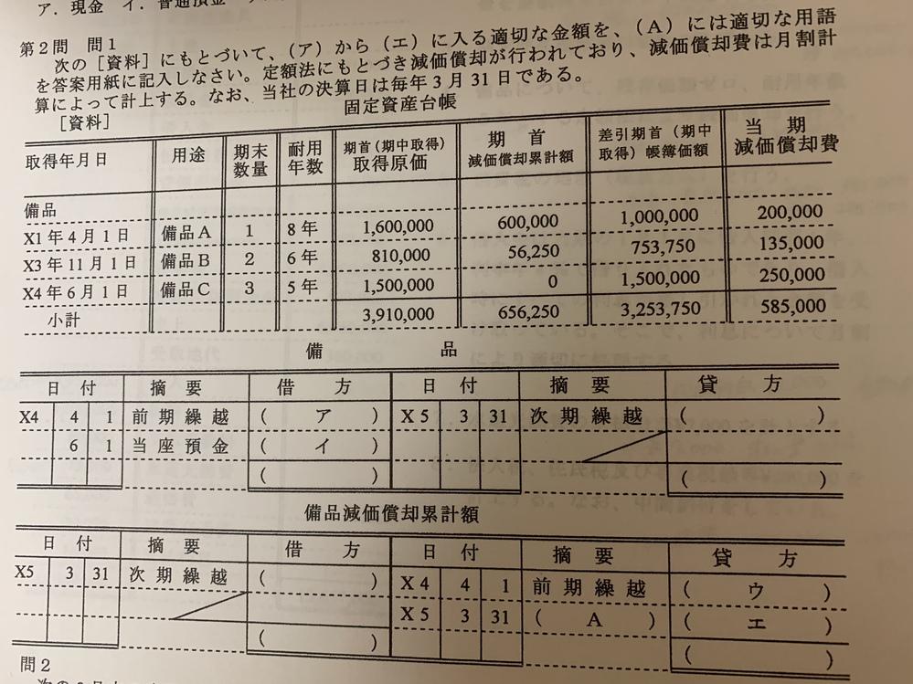 アイウエAをどのように求めるか全くわかりません 説明お願いします。 回答 ア 2,410,000 イ 1,500,000 ウ 656,250 エ 585,000 A 減価償却費