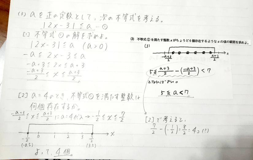 (3)で、値の範囲がなぜ5を含めた不等号なのでしょうか? 写真のため見づらくて申し訳ないです
