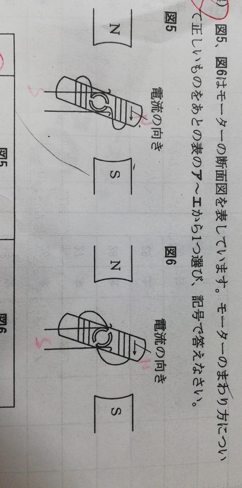 中学受験 理科 モーターの問題です。図5は回転しますが図6は途中でとまります。 図5はなぜ途中で電流が流れなくなり、図6は電流が流れ続けるのですか? どちらも同じように見えるのです。