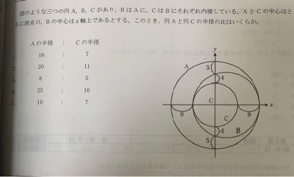 この問題の回答で「円Cの半径をrとすると、円Bの半径はr+4.5となるので」と書いてあったのですが、なぜそうなるのでしょうか?