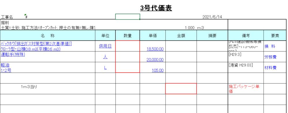 積算についてです 代価表の赤で囲ってる場所はどこから持ってきた数字を入れればよいのですか?