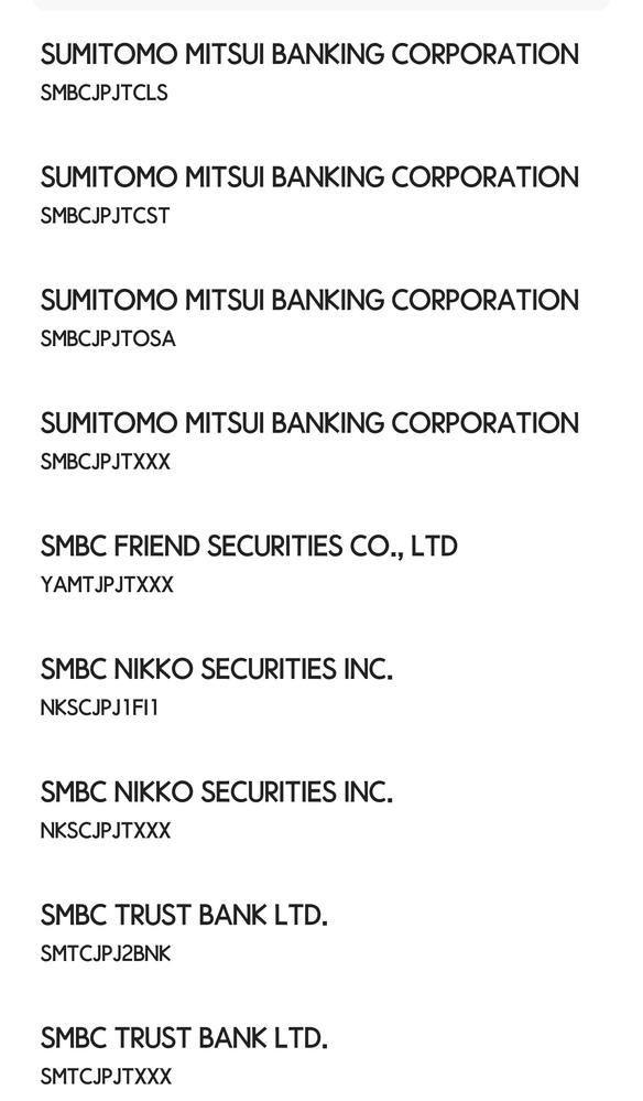 海外から日本に送金する際、Swiftコードが必要ですが、 選択時いくつか同じのがでてくるので 分かりません。 わかる方いらっしゃいましたらよろしくお願いします。 三井住友銀行です。