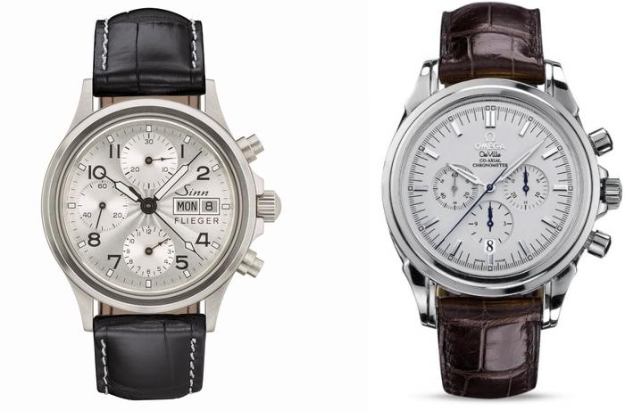 どちらの時計がオンオフ共に使えるか? アラサー独身会社員です。 海外旅行にもいけないので、独身のうちにしか買えないものを、と思い腕時計を検討しています。現在黒文字盤のタグホイヤー3針を使っていますので、2本で使い分けできたら、と思っています。 ・スーツでも私服でも、どの季節でも似合うクロノグラフ ・生意気に見えない ・白系文字盤 ・30万円以内 が理想条件で探していました。 その結果、すべて中古狙いになりますが、写真の2種で絞っています。 ・オメガデビル クロノグラフ 30万円台 ○ほぼ理想のデザイン ✕少し大きいかも(42mm)、予算オーバー、モデルがだいぶ古い ・ジン 356SAフリーガー 20万円台 ○理想なサイズ感、玄人感、パイロットウォッチ興味あり ✕スーツには似合わない?、オーバーホール費用、ジンにその値段かけるなら・・・ オメガの方が第一希望ですが、やはり予算面で躊躇しています。 コロナで年収も減っている中、特に結婚や昇進というタイミングでもない今、高級時計を買う必要があるのか?というのも自問自答しています。 無駄遣い、と思う反面、中古だしほしいと思った今が買い時、時計の平均価格は上がり続けるので早いほうが良い・・・など結論出ません。 まずは、どちらを買うと長期的に満足できそうかアドバイス頂きたいです。 また、購入自体を悩んでいる私に対し、後押し、あるいは冷静に考えるような助言も貰えると嬉しいです。 回答よろしくお願いいたします。