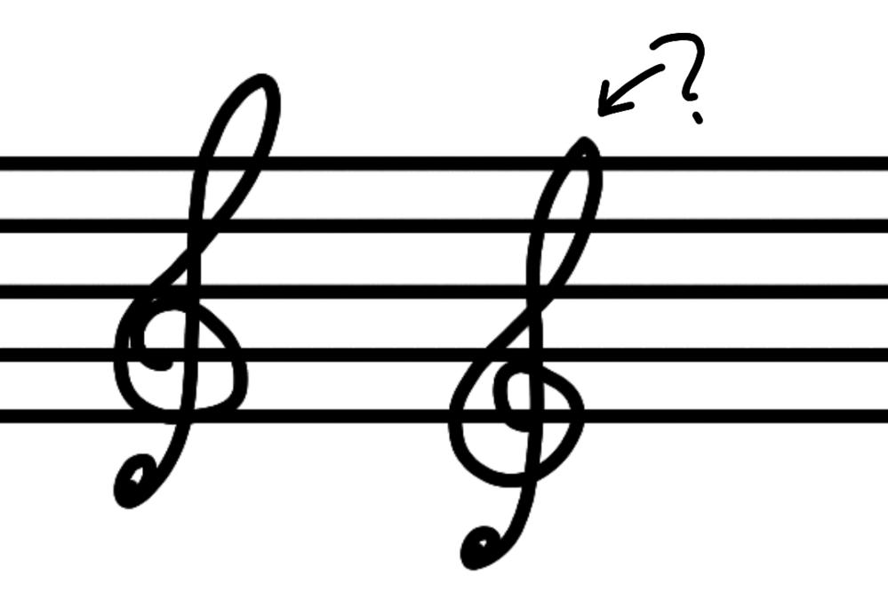 右の下に突き出てるト音記号は左のト音記号と何が違うんですか?