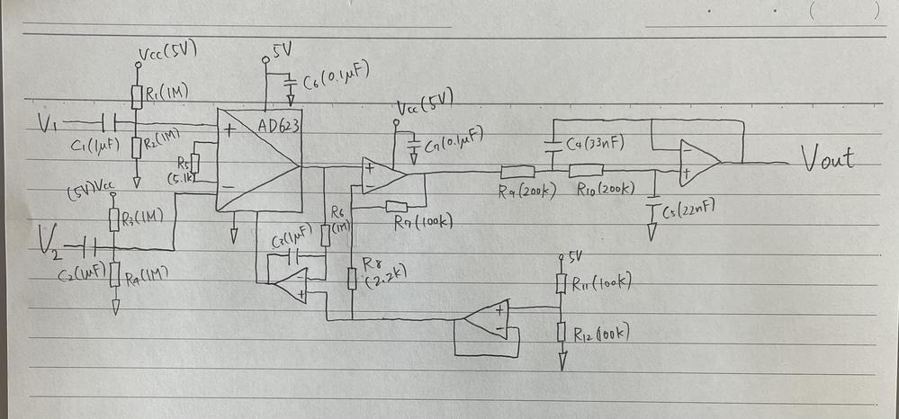 差動増幅回路を用いた心電計の回路解析について。 下図に示す回路のVout、V1、V2の関係を表す式を導出しようとしたのですが、複雑でわからなくなってしまいました。 わかる方、回答よろしくお願いいたします。