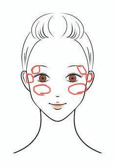 顔の骨で悩んでます。 私は、下の画像のように、目尻の上・目の真横・目の下の骨が普通より出っ張っています。 この3つの箇所を小さくするマッサージ方法教えてください。 特に目じりの上の骨。厄介。。