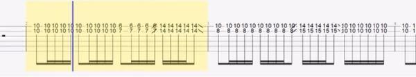 ギターのミュートについて 下の譜面のように1、2弦だけ鳴らしたい時、ミュートはどのようにしますか? 今のところ2弦をおさえる指の指先で3弦だけミュートしているのですが、どうしてもたまに3、4弦が鳴ってしまいます。 上手な人はピンポイントに1、2弦だけストロークするなんてこともできるのでしょうか?
