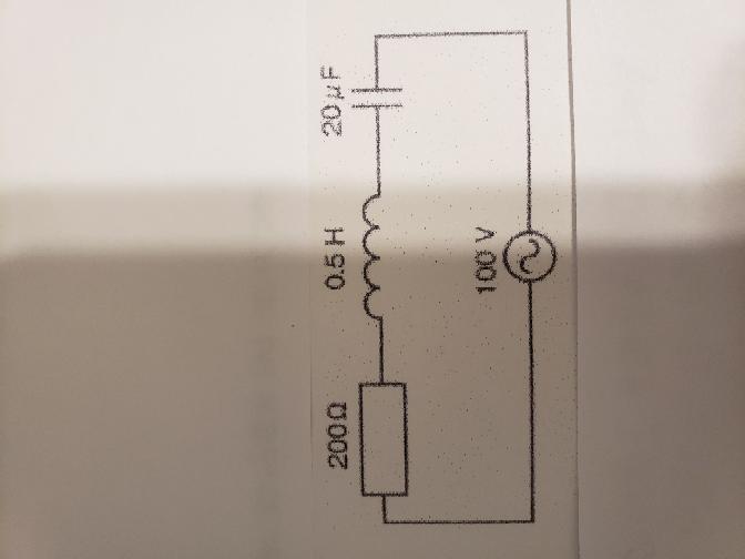 図の回路が共振状態にあるとき、回路に流れる電流【A】はいくつか という問題の計算と回答を教えて頂けないでしょうか。宜しくお願い致します。