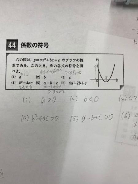 質問です (6)の問題で、X=2のときに4a+2b+cになることは わかるのですが、それが正か負かが分かりません。 教えていただきたいです