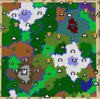 マインクラフトpcの、黄昏の森mod1.16.5についての質問です。 これが自分のマップなのですが、どう見てもゴブリン騎士の拠点とダークタワーが無いです。 これは、何が原因でしょうか?改善案はありますか?