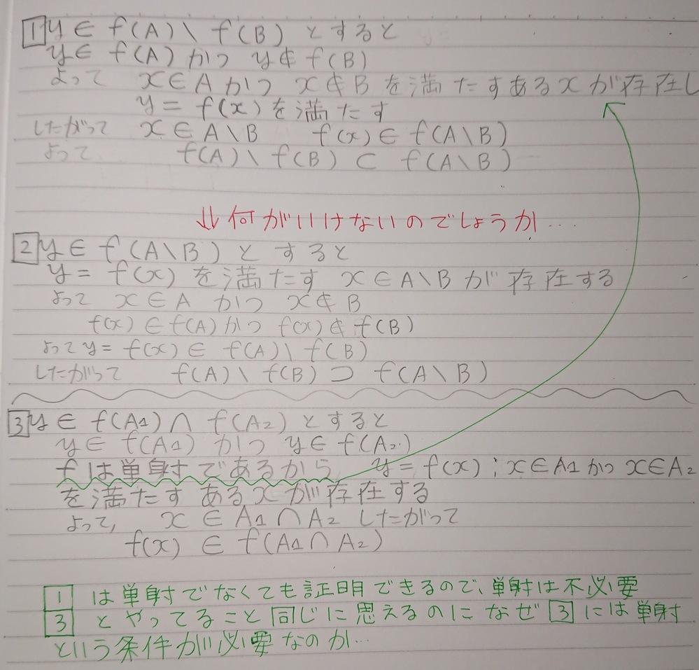 大学の数学の写像のところでわからない問題があります f:X→Yに対して A⊂Bの時 f(A\B)⊃f(A)\f(B)であることを証明しろ。という問題と f(A∩B)⊂f(A)∩f(B)であるこ...