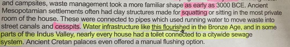 黄色い蛍光ペンのところの最初のWater infrastructure ~Indus Valley,は名詞ですよね? というとこは構造的に 名詞,センテンス となりおかしくないですか?