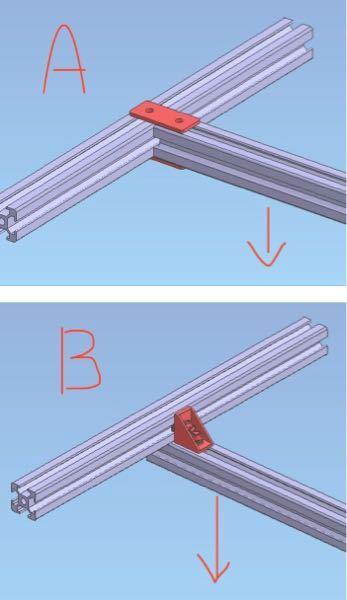 機械設計をしています。 モーメント剛性について質問です。 アルミフレームのブラケットの選定に迷っているのですが下記AとBのパターンではどちらが剛性が高いでしょうか? Aは板金プレートを上下に2枚、Bは一般のブラケットで上方向のみの固定です。 負荷は矢印方向に掛かるとします。