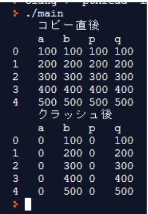 配列bの先頭アドレスを指すポインタqを追加して、画像のように結果表示するプログラミングを教えて下さい。