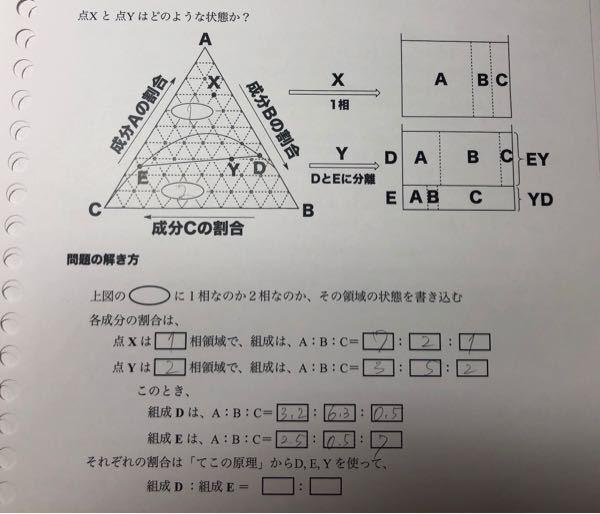 3成分系相図について 組成DがA:B:C=3.2:6.3:0.5らしいのですが、BとCどうやって考えるんですか?