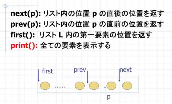 リストクラスでメソッドを作る勉強をやってるんですが、下の画像のnext(p)やfirst (p)メソッドの説明文の意味がわかりません。 例えばnext(p)はpの次の「位置を返す」そうですが、、 int next( int N) { int tempN; return tempN =value[N+1]; この様に書いたら全然違うとガチギレされました… 位置を返すとは何でしょうか? どの様に変えれば良いのでしょうか? 教えて下さい。