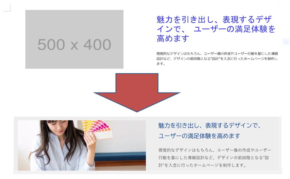 """flexで画像の横に文字を配置したのですが、付属画像の一番上の画像が、webでの現在の表示画像なのですが、付属画像の下にある画像のように、 写真とテキストを並べたもののところに、背景の色を付けたいのですが、上手くいきません。 回答よろしくお願いいたします。 コードは以下です。 <!DOCTYPE html> <html> <head> <meta content=""""text/html; charset=utf-8""""/> <title></title> <style type=""""text/css""""> /* 画像の横に文字を配置する */ .flex{ display: flex;/* 画像の横に文字を配置する */ padding: 10px; } .flex div{ width: 50%; margin: 10px;/* 外側の空白上下左右 にする*/ padding: 10px;/* 内側の空白上下左右 にする */ } /* 画像の横に文字のスタイル */ .title3 p{ font-size: 39px; line-height:45px;/* 文字を大きくして中央に配置するための処置 */ font-family: """"MS ゴシック"""",sans-serif; /* 文字の種類 */ color:#33d; } /* 画像の大きさ調節 */ img.example4 { width: 80%; height: 330px; } </style> </head> <body> <div class=""""flex""""><!--画像の横に文字を書くためflexのcssとdivで囲む--> <div><p><img src=""""https://placehold.jp/500x400.png"""" alt=""""[写真]"""" class=""""example4""""> </p></div> <div class=""""title3""""> <p>魅力を引き出し、表現するデザインで、ユーザーの満足体験を高めます</p> 視覚的なデザインはもちろん、ユーザー像の作成やユーザー行動を基にした導線設計など、デザインの前段階となる""""設計""""を入念に行ったホームページを制作します。 </div> </div> </body> </html>"""