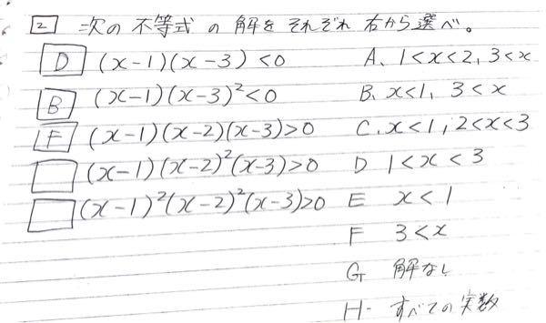 数学で、 不等式の解を求めてAからHのなかから適切な答えを選べという問題なのですが、()^2がつくとなんぞや?となってしまい よくわかんないです。 解説解答お願いします。