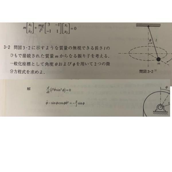 次のような問題で運動エネルギTが T= m/2 (ℓ^2φ'^2 + ℓ^2sin^2φ・θ'^2) になるのが、はっきりとわかりません。感覚的には理解できるのですが、どなたか噛み砕いで説明していただけないでしょうか?