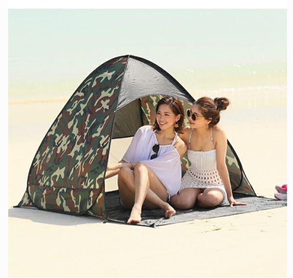 ビーチや公園用にワンタッチテントの購入を検討しているのですが、サイズで迷ってます。 ①皆さんおすすめのサイズ教えてください。 よろしくお願い致します。 ②ちなみに、写真のテントだと小さいように見えるのですが…ふつーサイズですか?