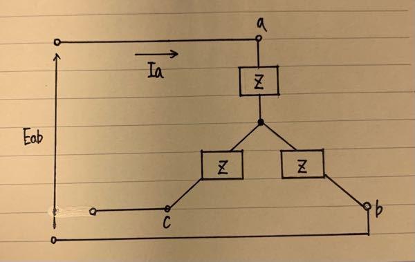 写真の平均三相交流において、線間電圧の大きさ|Eab|は173V、負荷インピーダンスZは(4+3j)[Ω]です。 ①相電圧の大きさ|Ea| ②線電流の大きさ|Ia| ③力率cosθ ④一相あたりの消費電力P1 ⑤三相回路の消費電力P について計算過程も含めて教えていただけると嬉しいです!