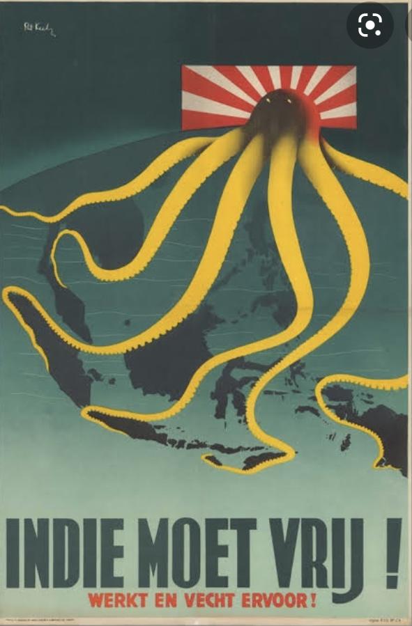 日本の帝国主義をタコの怪物で表現したオランダの半日ポスターはいつ頃描かれたのですか?