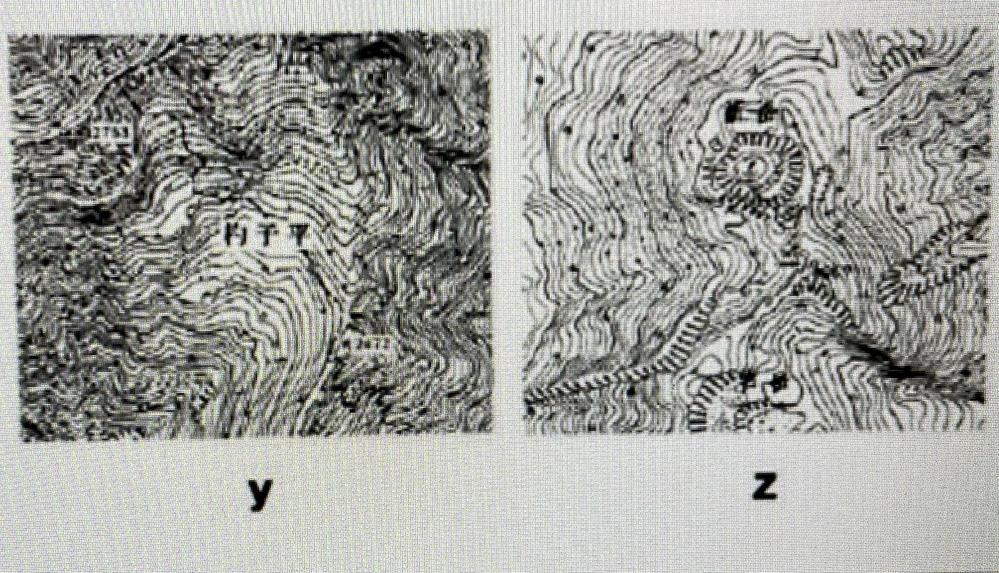 画像見づらくてすみません! Yが氷河地形で、Zが火山地形と見分ける問題なのですが、どこを見れば必ず見分けられるのか分かりません。 カールがあったら氷河地形、岩がけの記号が多かったら火山地形みたいな感じでいいのでしょうか??