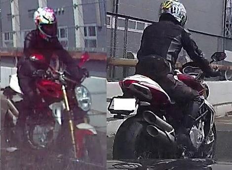 【画像参照】このカッコイイバイクは何という名前でしょうか? 大型バイクに見えました。 メーカー名と車種名と排気量を教えて下さい。