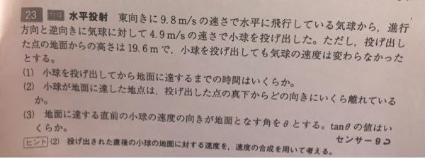 水平投射に関する問題がわかりません。 (2)と(3)を教えて下さい。。
