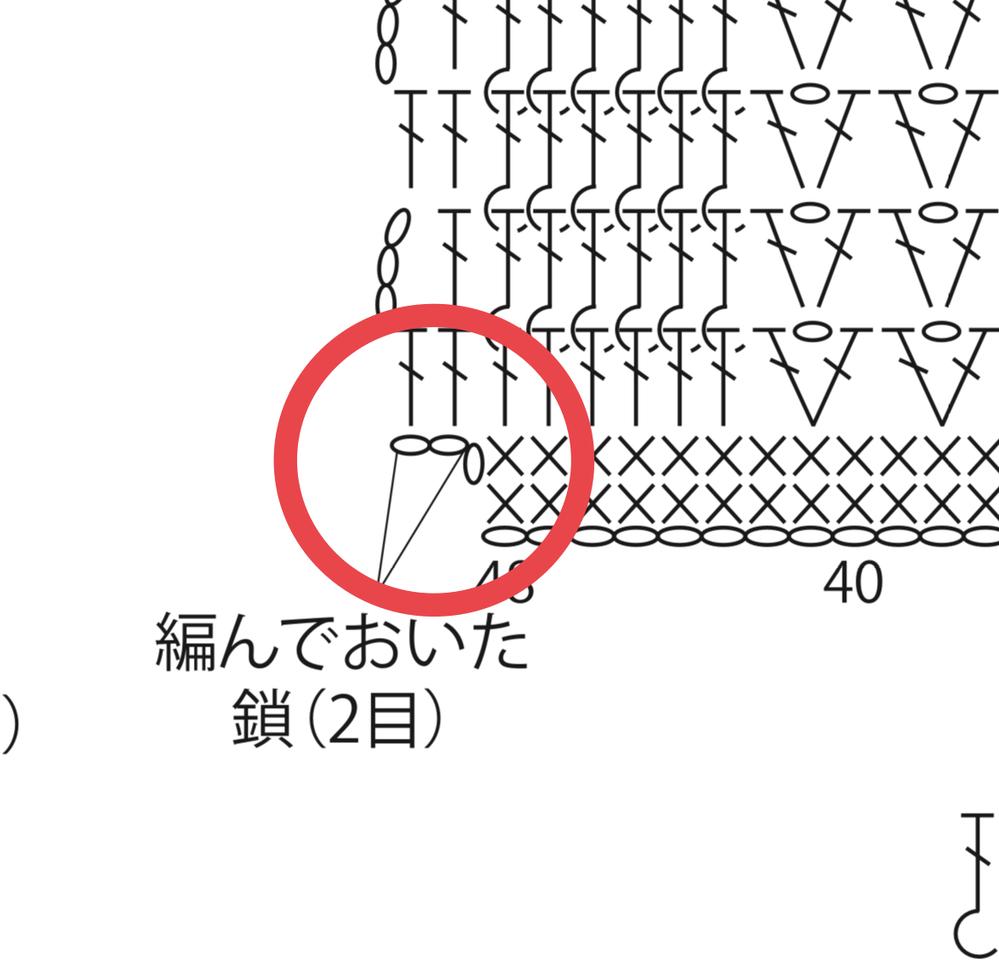 かぎ針編みについて質問です。 写真の部分の編み方を教えてください。