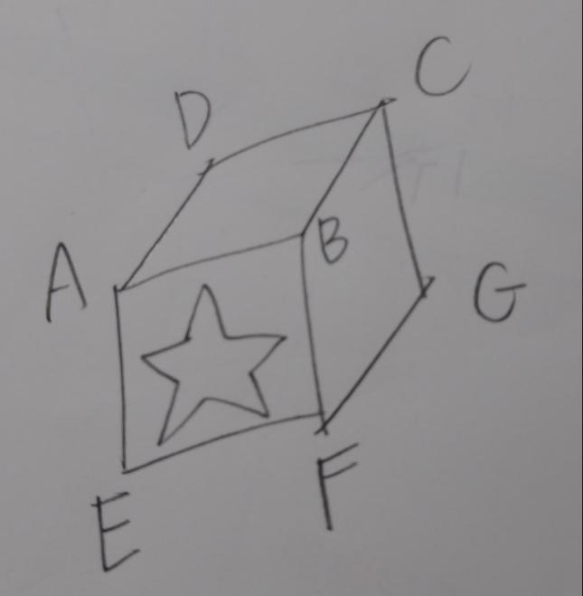 星の形の穴が空いた立方体を ACEG平面で切った切り口のイラストを描け。というような問題を教えてください。 ㅤㅤㅤㅤㅤㅤㅤㅤㅤㅤㅤㅤ DCGHにも星の穴があります。 美術の問題でこういうのが出るんですが、コツを教えて下さい お受験の問題みたいなので算数カテで。