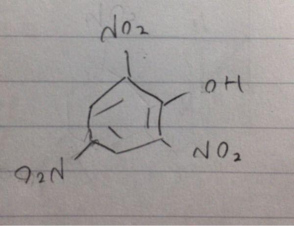 化学についてです。 フェノールを、ニトロ化した際に、ピタリ酸が出来ますが、246トリニトロフェノールとも呼ばれるやつですが、この、4の部分にくっついているO2Nって、N2Oと書いてはいけないんですか。