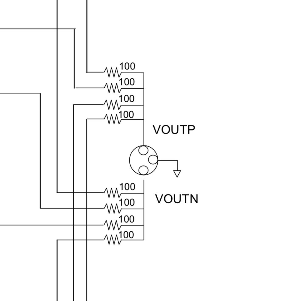 AK4499EQの回路について 下記の写真は、AK4499EQを使った回路図なのですが、大きい丸の中に3つの丸が書かれた記号は何の記号ですか?
