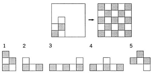 公務員 判断推理の問題です 下図の左から始めて市松模様の正方形を作りたい。1~5のなかで不要な部品は□ である。 □の答えとできれば解説をお願いします( ;∀;)