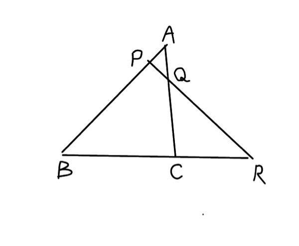 図において AP:PB=1:4 BC:CR=3:2であるとき AQ:QCを求めなさい。 これを解説を付けて貰えるとありがたいです。