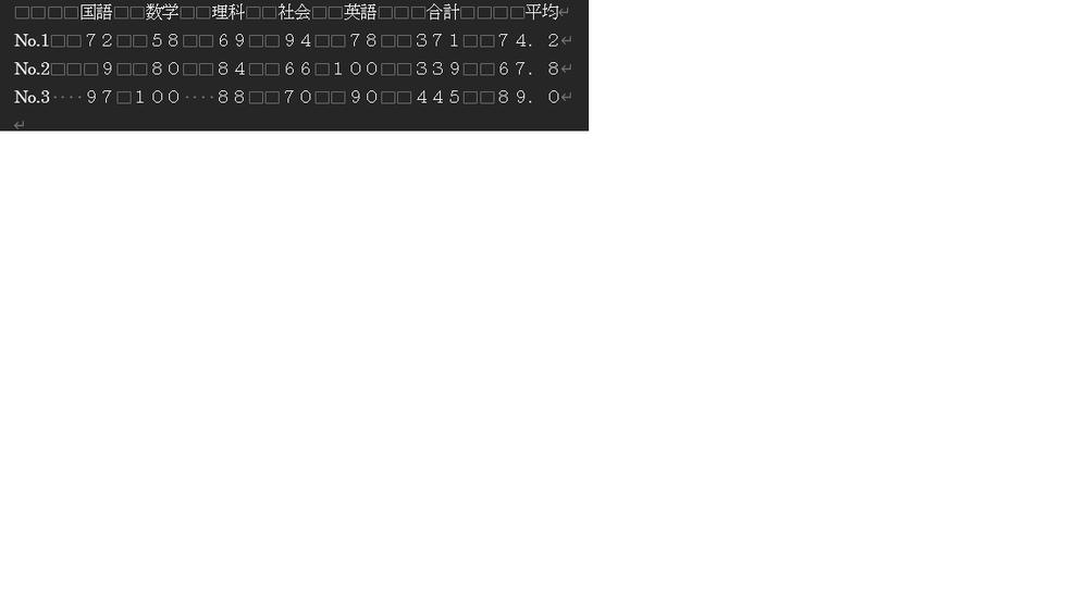 """画像の様にきれいに数値を並べるプログラムを書きたいのですがどのように書けばよいのでしょうか? //自分のcode// #include <stdio.h> int main(){ int a[5]={}, b[5]={}, c[5]={}, i, sum[3]={}; double avg[3]={}; printf(""""国語→数学→理科→社会→英語の順に数値を入力してください。&yen;n""""); for ( i = 0; i < 5; i++) { printf(""""No.1""""); printf(""""数値:""""); scanf(""""%d"""", &a[i]); sum[0]+=a[i]; } printf(""""&yen;n""""); for ( i = 0; i < 5; i++) { printf(""""No.2""""); printf(""""数値:""""); scanf(""""%d"""", &b[i]); sum[1]+=b[i]; } printf(""""&yen;n""""); for ( i = 0; i < 5; i++) { printf(""""No.3""""); printf(""""数値:""""); scanf(""""%d"""", &c[i]); sum[2]+=c[i]; } printf(""""&yen;n""""); for ( i = 0; i < 3; i++) { avg[i]=sum[i]/5.0; } printf("""" 国語 数学 理科 社会 英語 合計 平均&yen;n""""); printf(""""No.1""""); for ( i = 0; i < 5; i++) { printf(""""%4d"""", a[i]); } printf("""" %4d %.1f&yen;n"""", sum[0], avg[0]); printf(""""No.2""""); for ( i = 0; i < 5; i++) { printf(""""%4d"""", b[i]); } printf("""" %4d %.1f&yen;n"""", sum[1], avg[1]); printf(""""No.3""""); for ( i = 0; i < 5; i++) { printf(""""%4d"""", c[i]); } printf("""" %4d %.1f&yen;n"""", sum[2], avg[2]); return 0; }"""