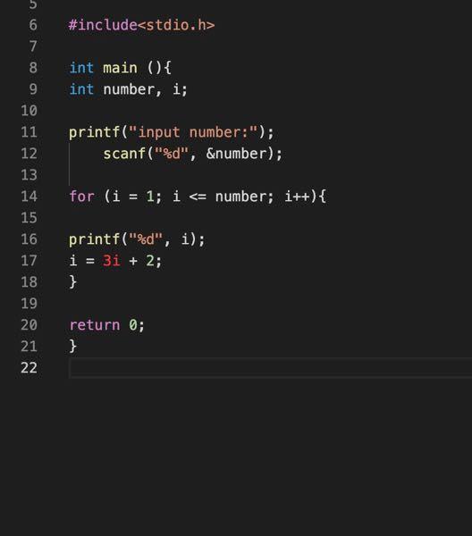 C言語初心者です 漸化式 a0=1, a(i+1)=3ai+2.で表される数列を入力された値の個数分表示するプログラム作りたいです 写真のようにやってもうまくいきません forやwhileを用いてどのようにしたらいいですか