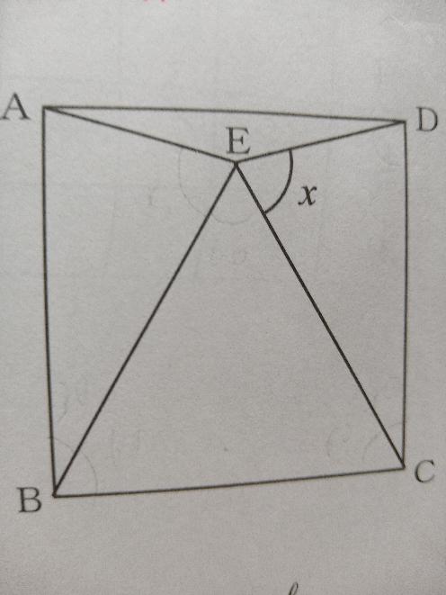 先程投稿したのですが、載せる写真が間違っていたので再投稿します。 数学の問題です。 なぜ△CEDは二等辺三角形なのですか。 △EBCは正三角形で、四角形ABCDは正方形です。
