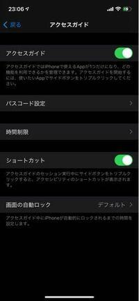 iPhone12です。設定でアクセスガイドをオンにしているのに電源ボタン3回押してもできません。 何故でしょうか