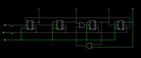 13進非同期式カウンタを作っているのですが、0~8までは数えられるのですが、9以降反応しません。 回路は図のよう組んでいるのですがどこがおかしいのでしょうか。添付図は「8」の状態です。