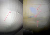 blenderでモデリングをしているのですが、 写真(左側)が突っ張る様な表面になってしまいます。 そしてモデリングを全選択した時に写真(右側)の様にまだら模様が浮き出てしまい、上手くいきません。  対処法となぜこうなるのか、詳しい方教えていただけないでしょうかm(_ _)m