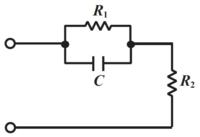 この電気回路の問題をください。 図の、抵抗値R1[Ω], R2[Ω]の抵抗器とキャパシタンスC[F]のキャパシタで構成される回路の合成インピーダンスを求めよ。