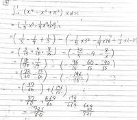 積分の問題で、この問題解こうとしたのですがすごく大きい分数になってあっているのか不安です。 見ずらいですが721/60 と出ました。 さすがに間違っている気がするので 正しい解答解説をお願いします。