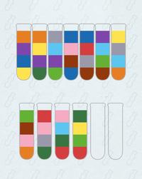色水?を移すパズルの、この題が一向に解けません…。全色ともスタートを試してもみましたが何度やっても詰まります。どなたか出だしだけでもヒントをください。