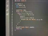 C言語です。この問題について教えて頂きたいです この画像のプログラムを改良し、三角不等式を満たさない辺の組み合わせはチェックしないようにせよ